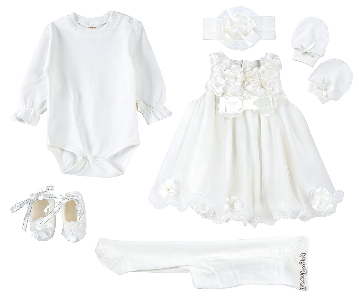 Taffy Baby Christening Baptism 3D Flower Dress Gown 6 Piece Deluxe Set 0-3 Months 37
