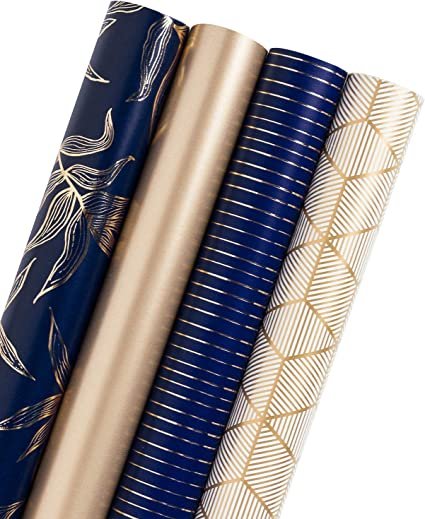 Amazon Com Wrapaholic Gift Wrapping Paper Roll Gold And Navy