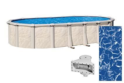 Wilbar Forever 15-Foot-by-30-Foot Oval Above-Ground Swimming Pools |  54-Inch Height | Resin Protected Steel-Sided Walls | Bundle with Sunlight  25 ...