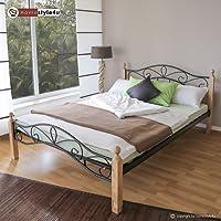 Homestyle4u 1344, Metallbett 140 x 200 Mit Lattenrost, Bettgestell Metall, Pfosten Holz Natur
