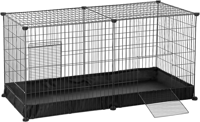 SONGMICS Valla para Mascotas, Parque para Animales Pequeños, con Estera Oxford y 2 Puertas, Rejilla Metálica para Hámster, Conejo, 123 x 63 x 61 cm, Negro LPI05H