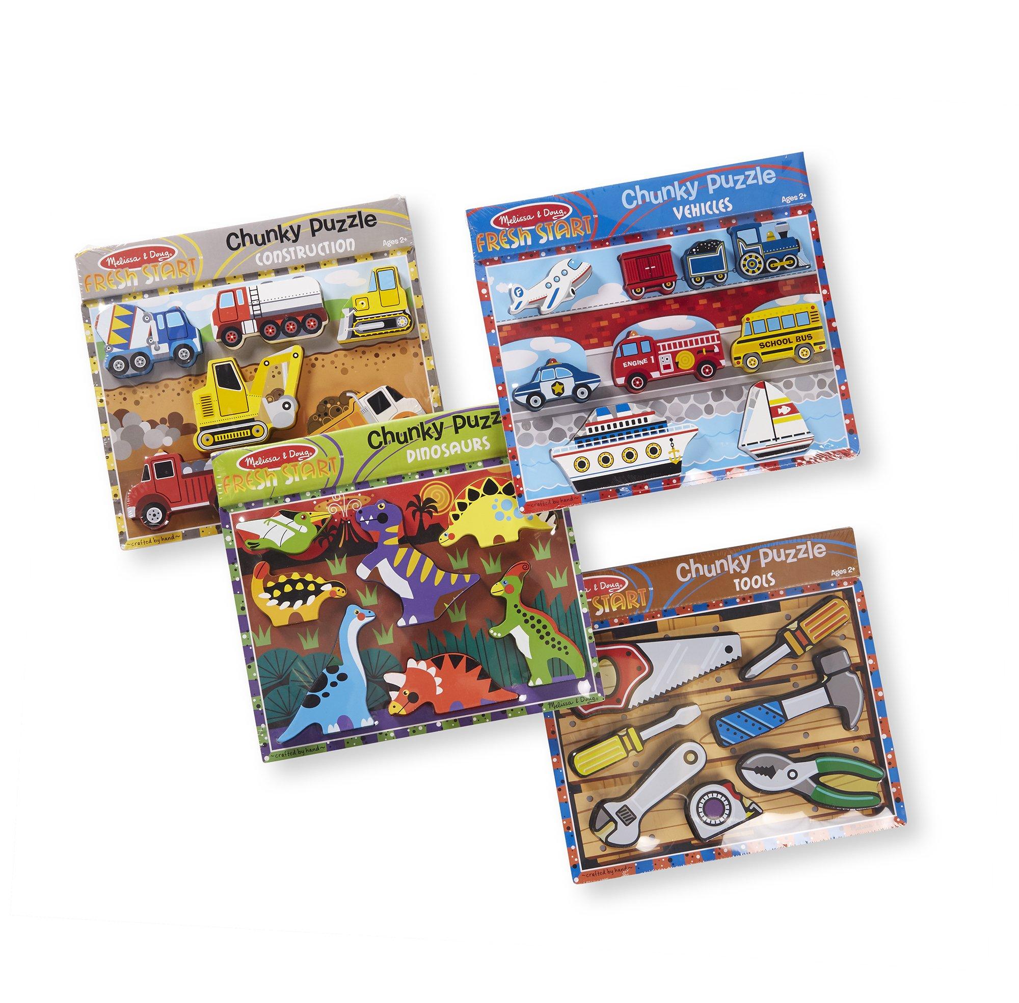Melissa & Doug Chunky Wooden Puzzle Dinosaurs, Construction, Tools, Vehicles Puzzle by Melissa & Doug