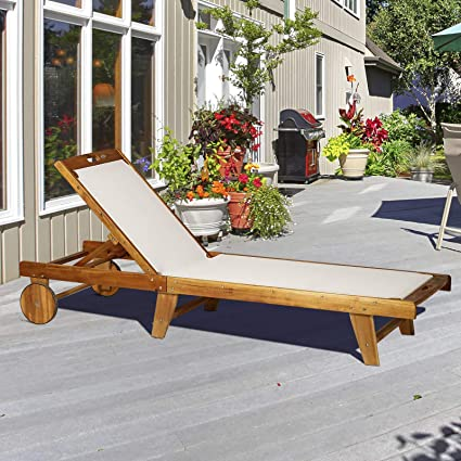 Amazon.com: Festnight - Silla de jardín de malla con ruedas ...