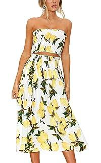 6318b383fee Women's Floral Lemon Bandeau Crop Top with Maxi Skirt 2 Piece Outfit ...