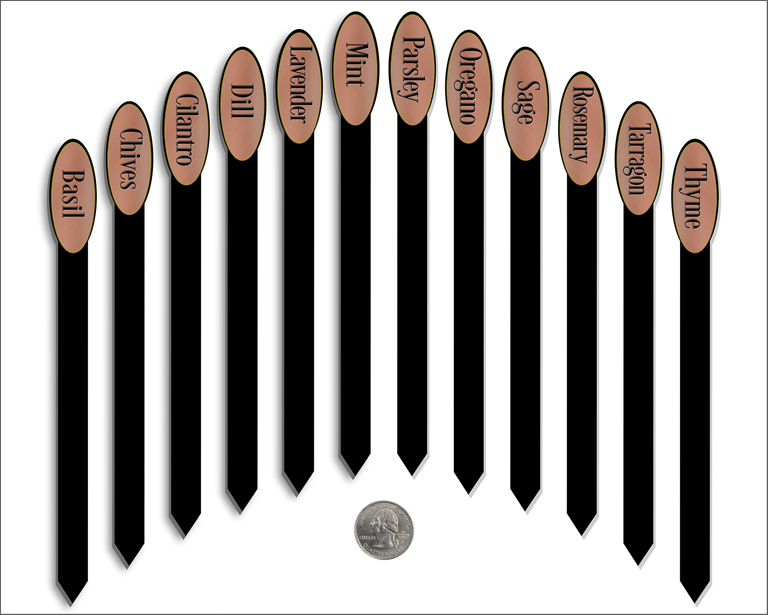 Red Tail Crafters Herb Garden Plant Markers Laser Etched Metallic Oval Stick Style 12/Set 08in Brushed Copper/Black by Red Tail Crafters