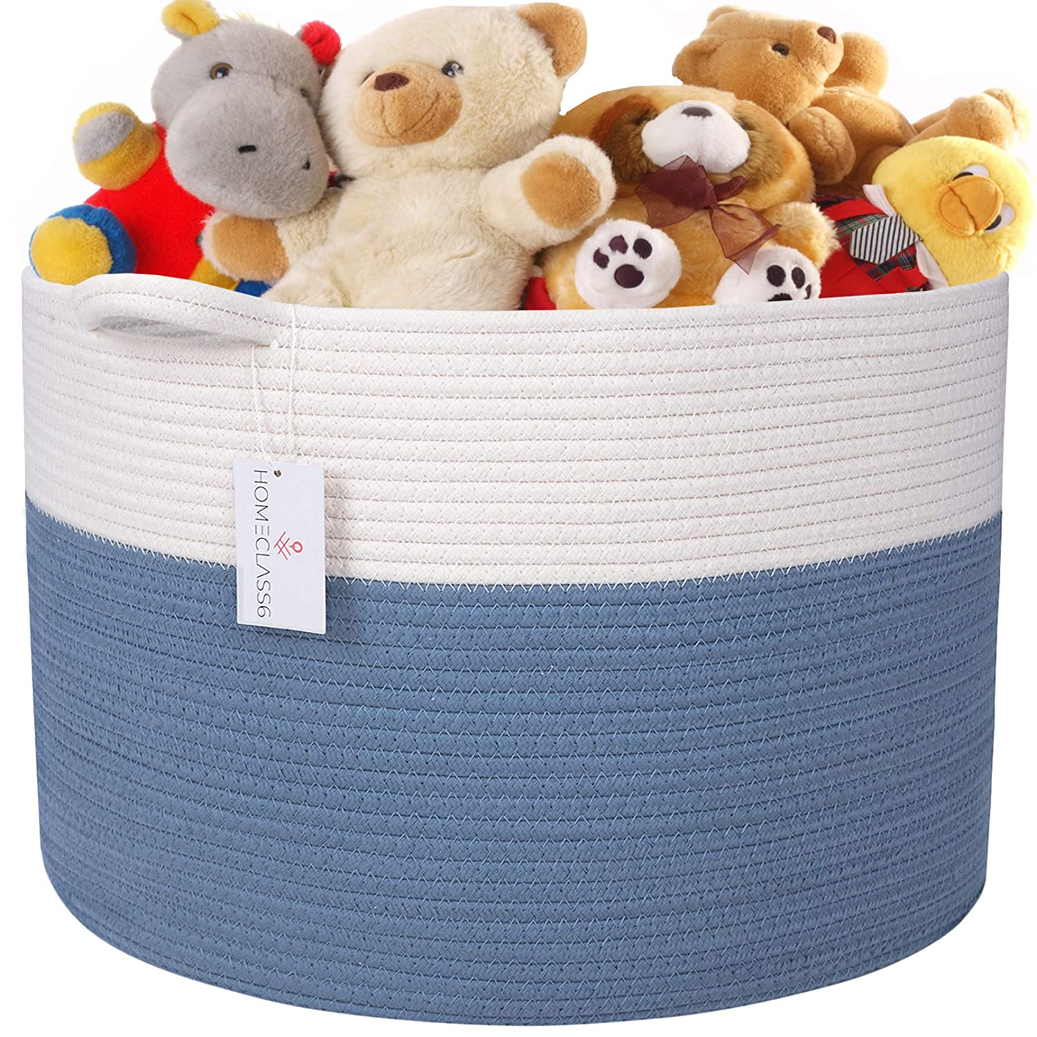 HOMECLASS6 XXL Cotton Rope Toy Storage Basket - 20 x 20 x 13.3 inch. Blue Woven Basket for Blankets, Throws, Toys, Pillows, and baby Room. Round Blanket Basket with Handles. 100% Natural Cotton.