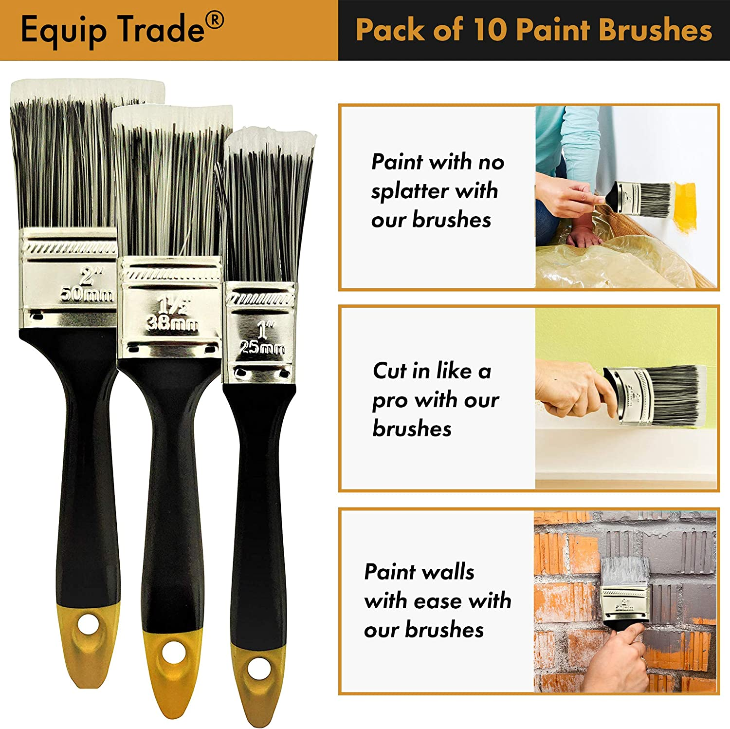 Pack of 10 Paint Brush Suitable for All Paints for Home Wall Trim House Equip Trade/® Paint Brushes