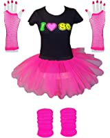 I Love 80s Ladies Fancy Dress Outfit Complete Set Tutu TShirt Legwarmers Gloves