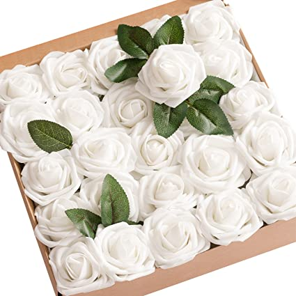 Amazon lings moment artificial flowers white roses 25pcs real lings moment artificial flowers white roses 25pcs real looking fake roses wstem for diy mightylinksfo