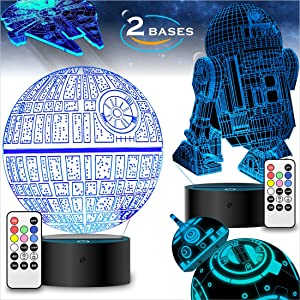 Star Wars Gifts 3D Illusion Lamp - Star Wars Toys LED Night Light for Kids Room Decor, 4 Patterns 2 Bases 7 Color Change with Remote Timer, 2019 Cool Gifts for Men Star Wars Fans Boys Girls Birthday