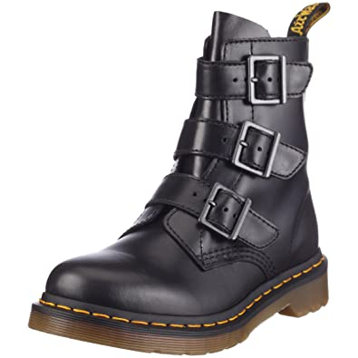 Women's Blake Black Leather Ankle Boots With Straps and Zip
