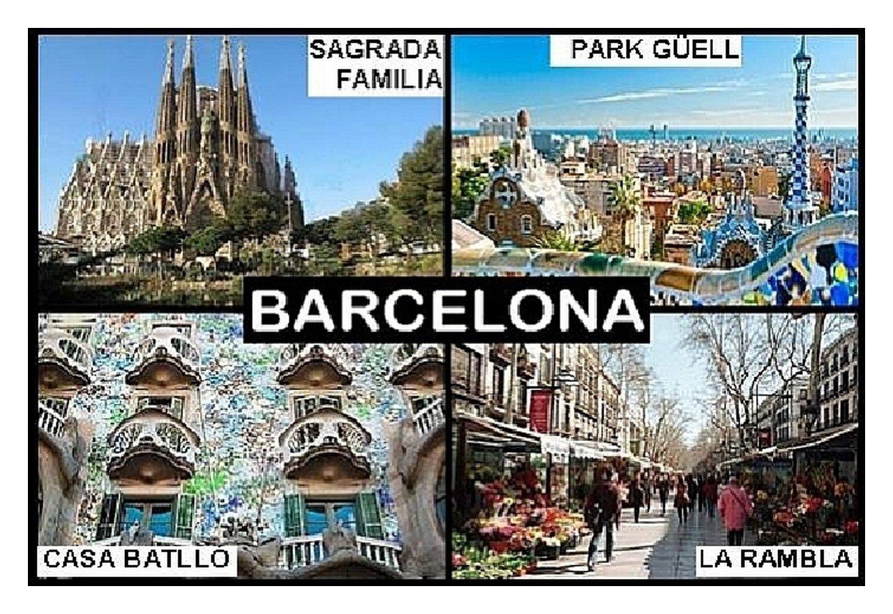 IMÁN PARA NEVERA - RECUERDO de BARCELONA SPAIN 9cm x 6cm Jumbo ...