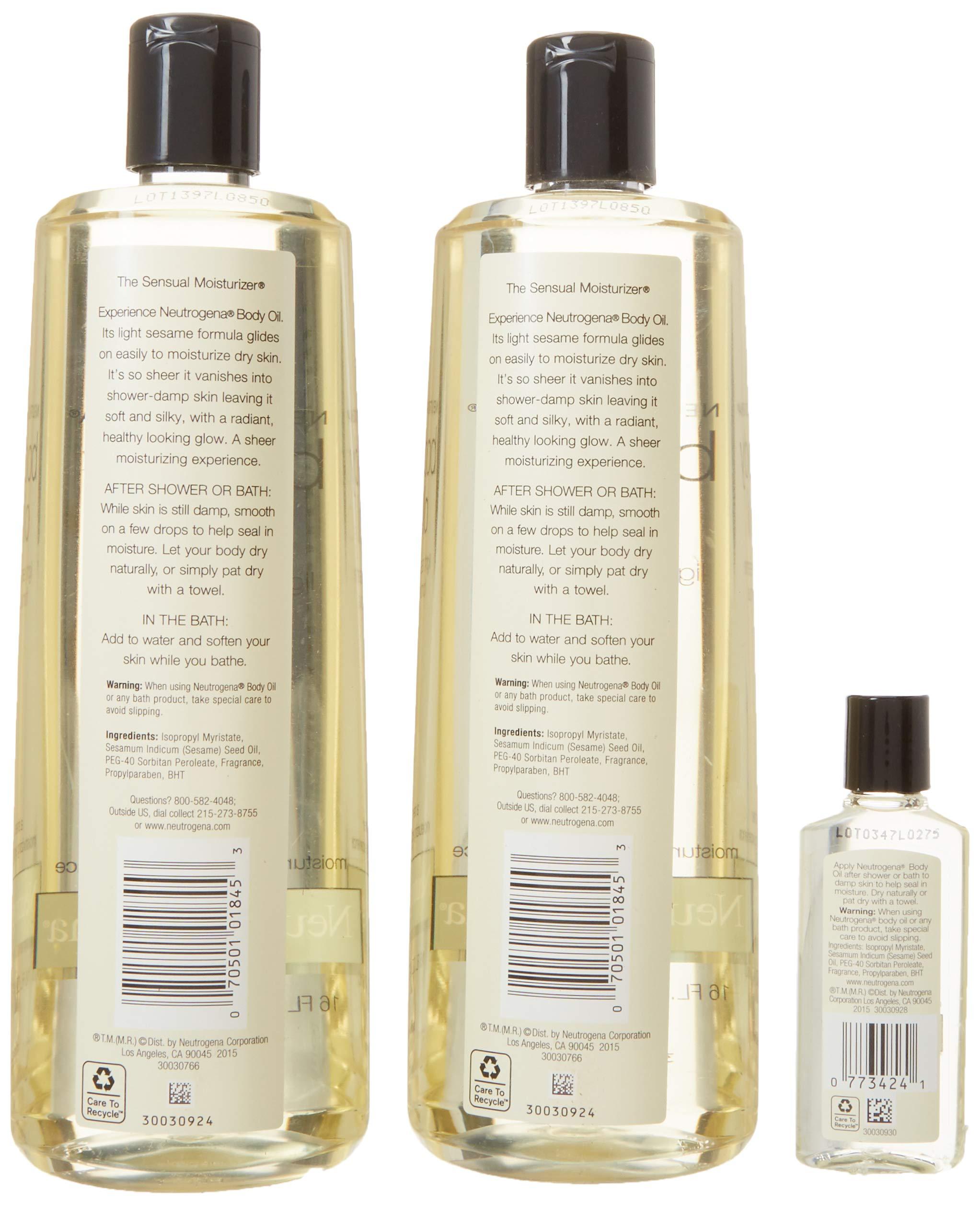 2 Pack of Neutrogena Body Oil Light Sesame Formula, 2-16 fl. oz bottles, Total of 32 fl. oz. by Neutrogena (Image #5)