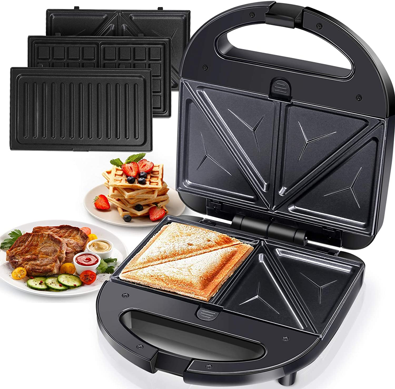 3-in-1 Grilled Cheese Sandwich Maker Waffle Iron with Removable Plates - Aigostar