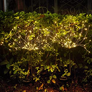 Solar Lights Outdoor - 2 Pack Solar Firework Lights Warm White Solar Garden Flower Lights with 105 LED Powered 35 Copper Wires for Walkway Patio Lawn Backyard Christmas