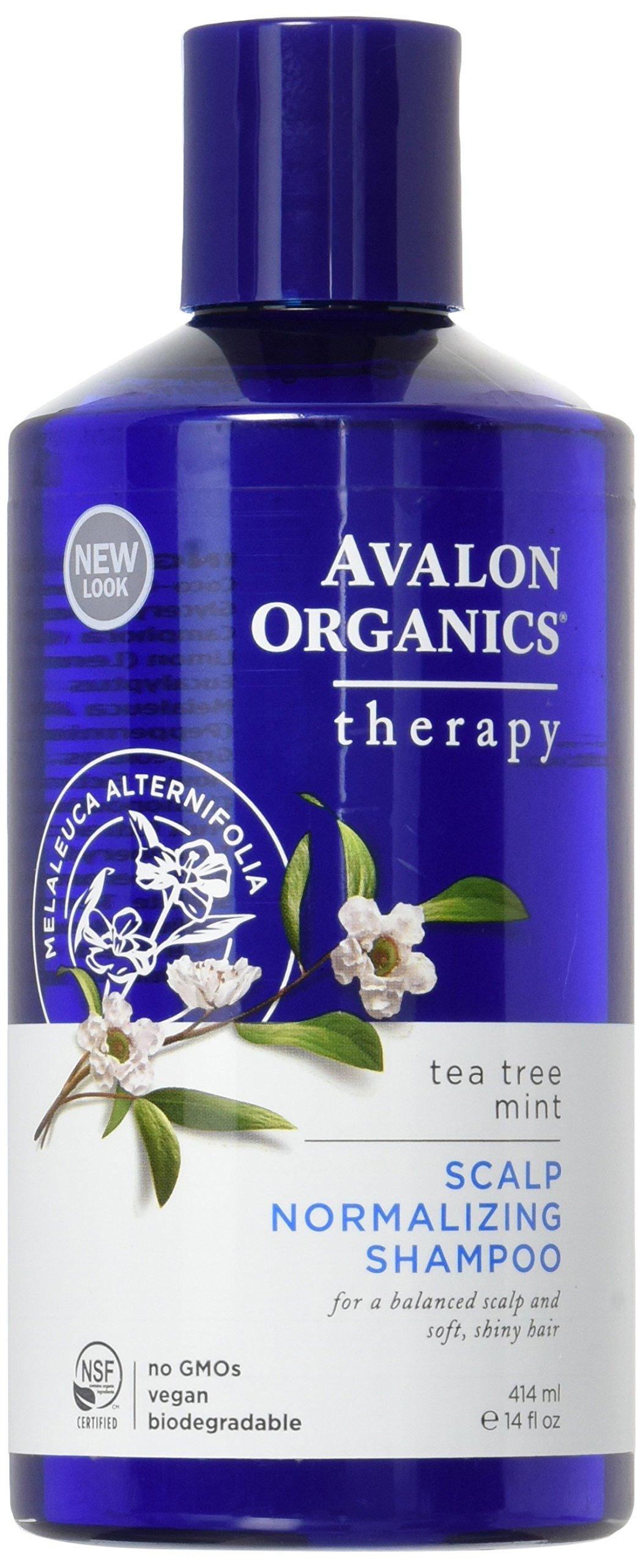 Avalon Organics Scalp Normalizing Tea Tree Mint Shampoo, 14 Ounce (Pack of 2)