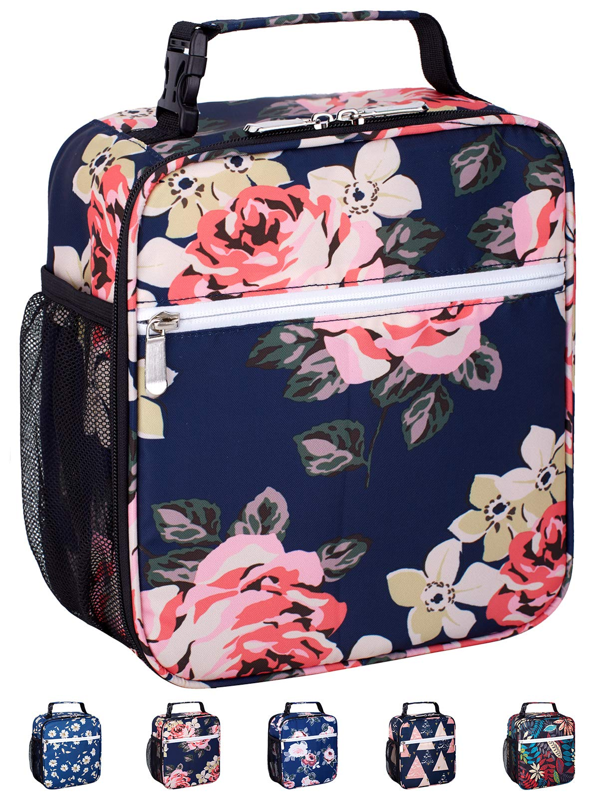 Leakproof Insulated Reusable Cooler Lunch Bag - Durable Compact Office Work School Lunch Box with Multi-Pockets & Detachable Buckle Handle for Women,Men and Kids-Big Blue Peony by Venture Pal