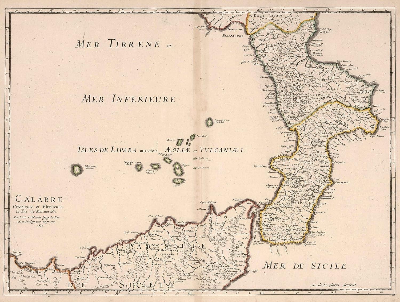 Amazon Com Historic Map Calabria Italy 1648 World Atlas