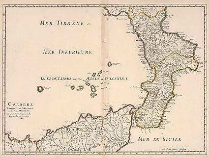 Amazon.com: Historic Map   Calabria, Italy. 1648, World Atlas ...