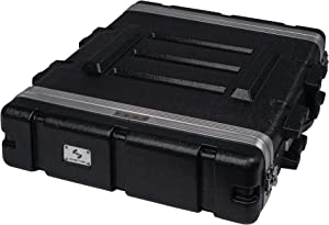 """Sound Town Lightweight 2U PA DJ Rack/Road Case with ABS Construction, 19"""" Depth and Heavy-Duty Latches (STRC-A2U)"""