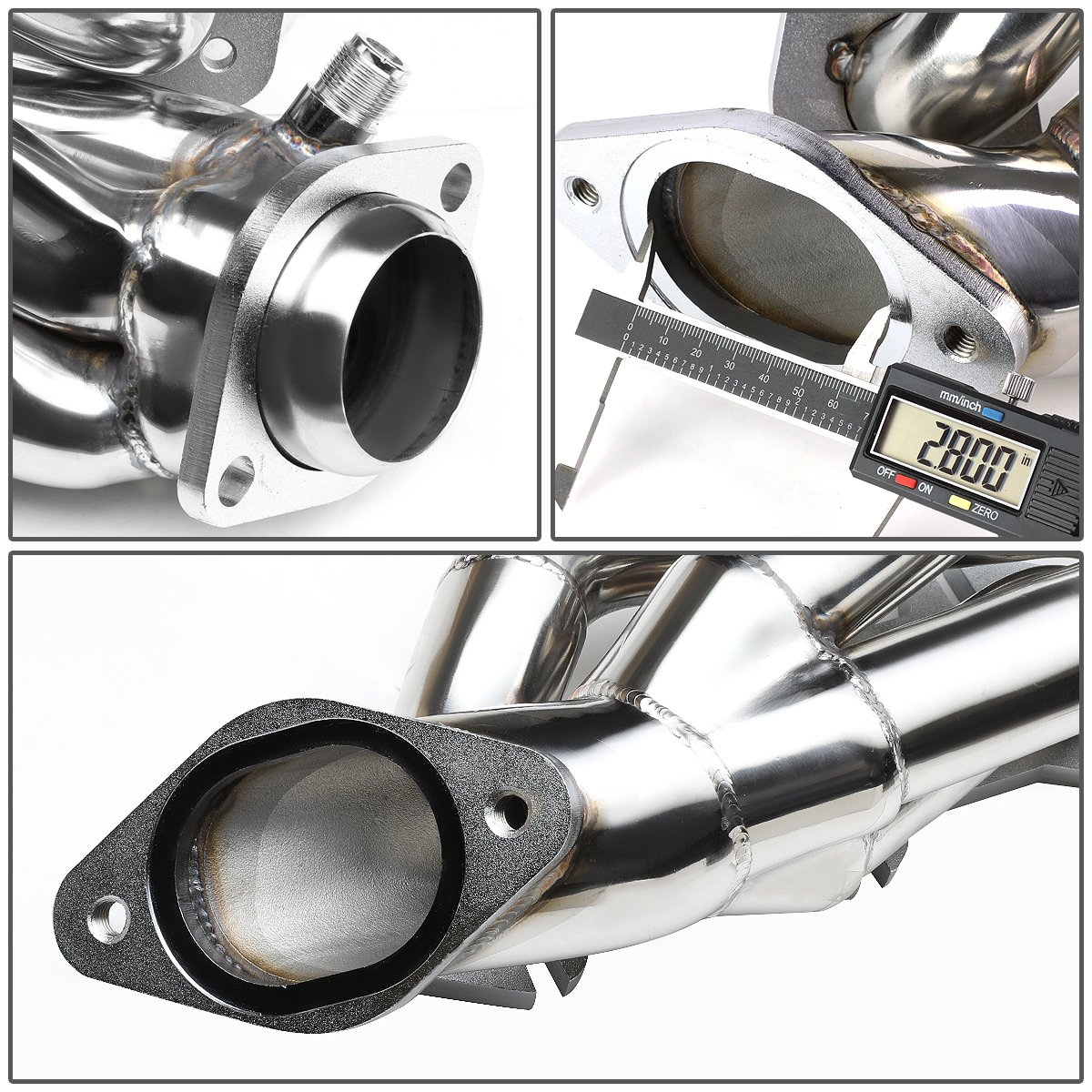 DNA Motoring HDS-FM96-46L-SHORTY Stainless Steel Exhaust Header Manifold