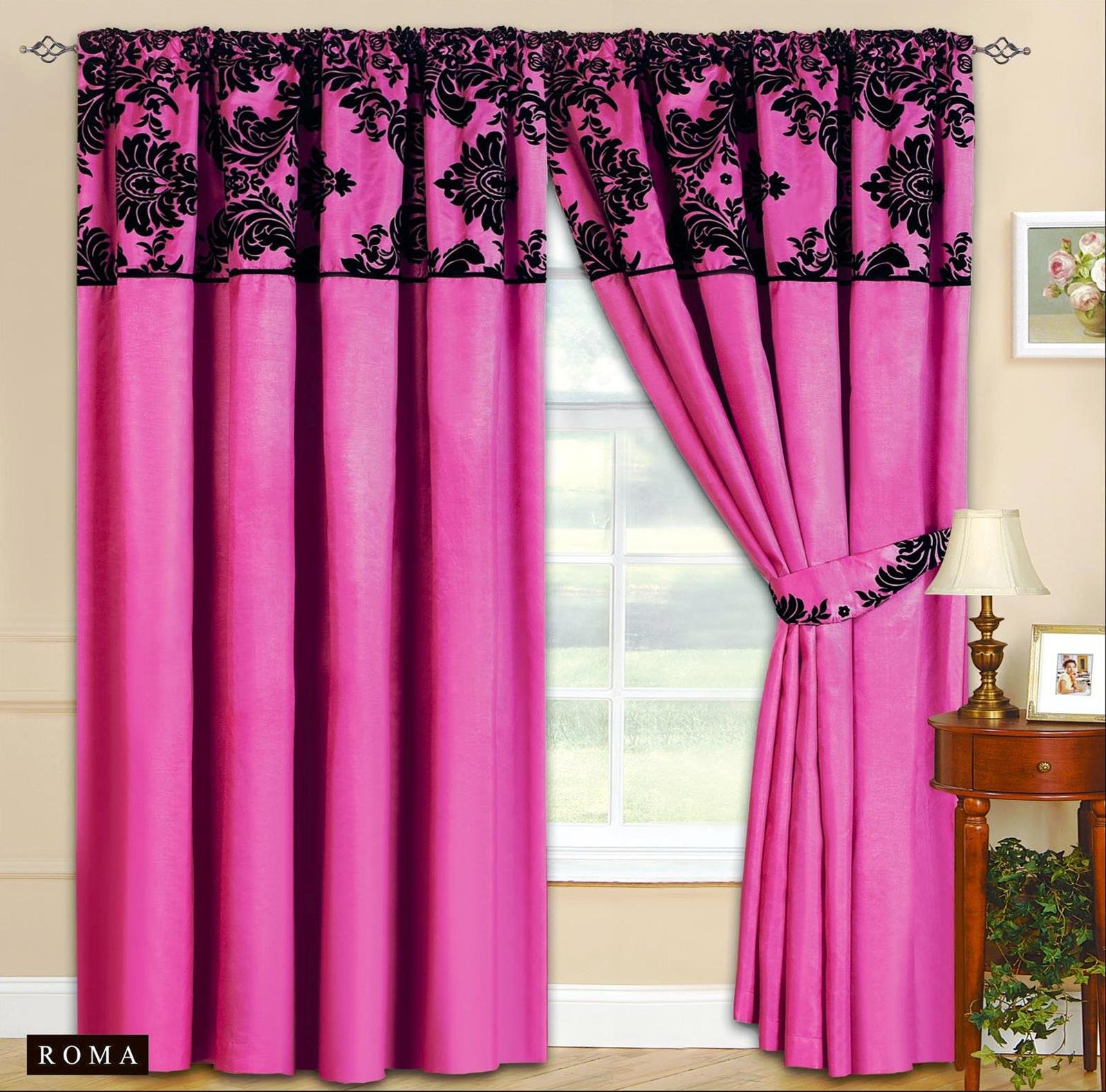 New Elegance Half Flock Ready Made Pencil Pleat Curtains With 2 Tie Backs 66