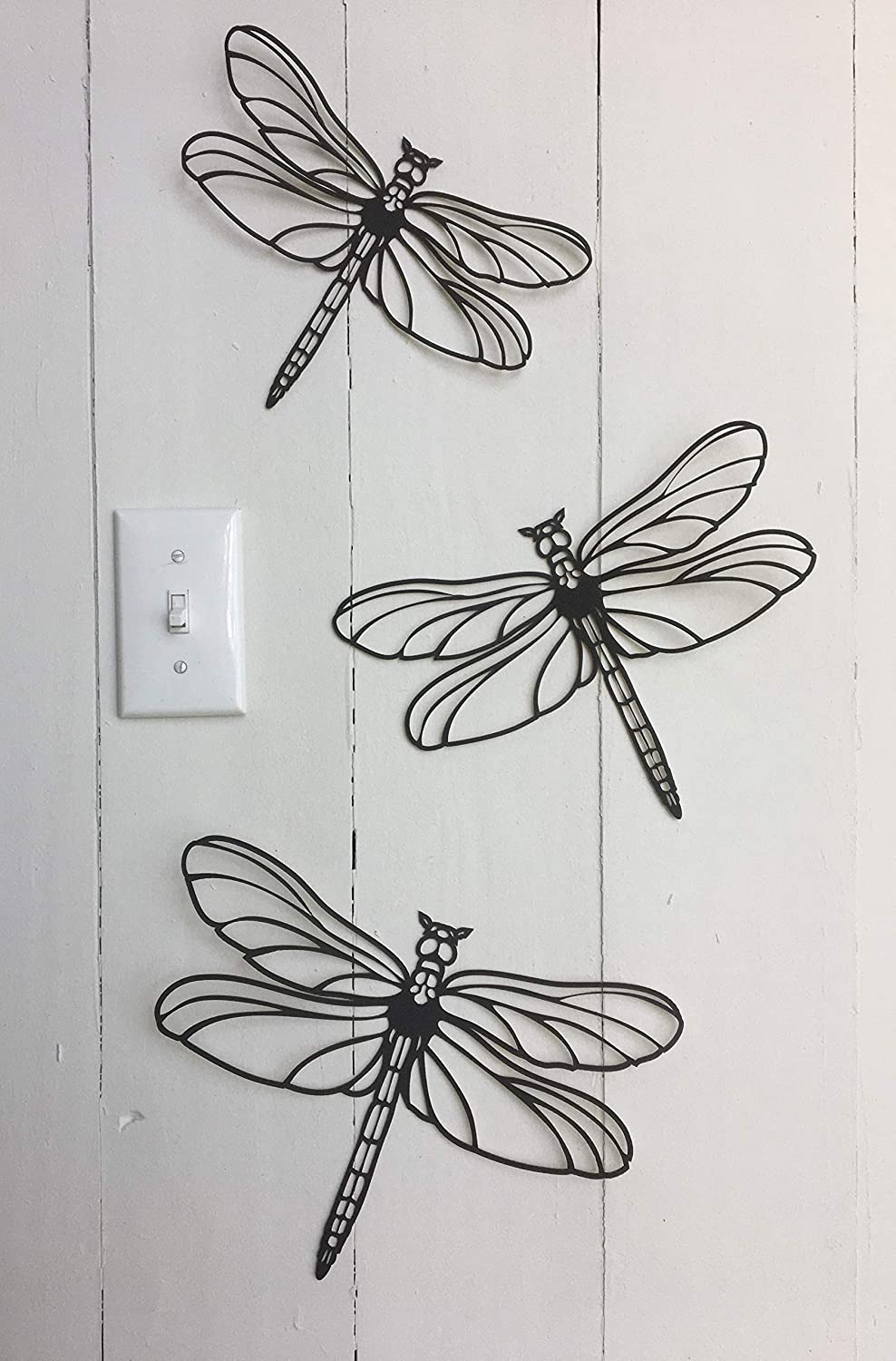 3 Dragonflies - Large Dragonfly Approx 11 x 8 inches - 5 Minute Install This is Not Vinyl Decal - 1/16 inch Thick matboard - Easily Tak-it-Up with Plasti-Tak provided Removable Paintable Wall Décor