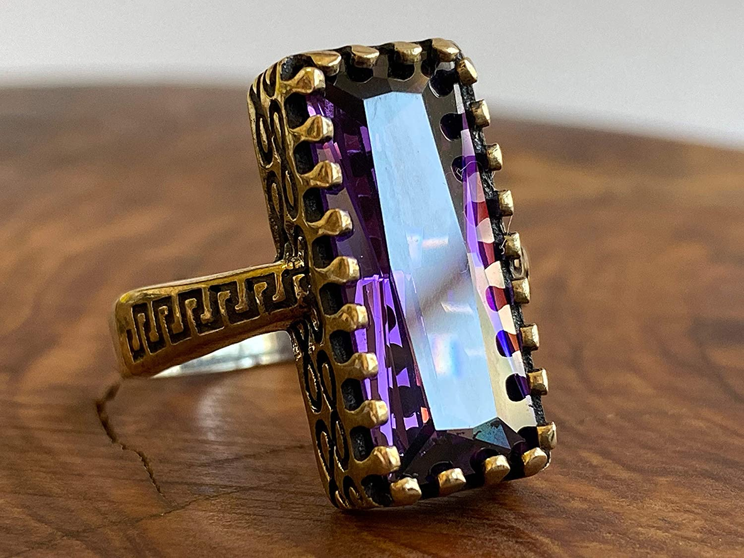 Handmade Turkish 925 Sterling Silver /& Baguette Cut Amethyst Solitaire Ring with Decorative Ottoman Style Clasps All Sizes