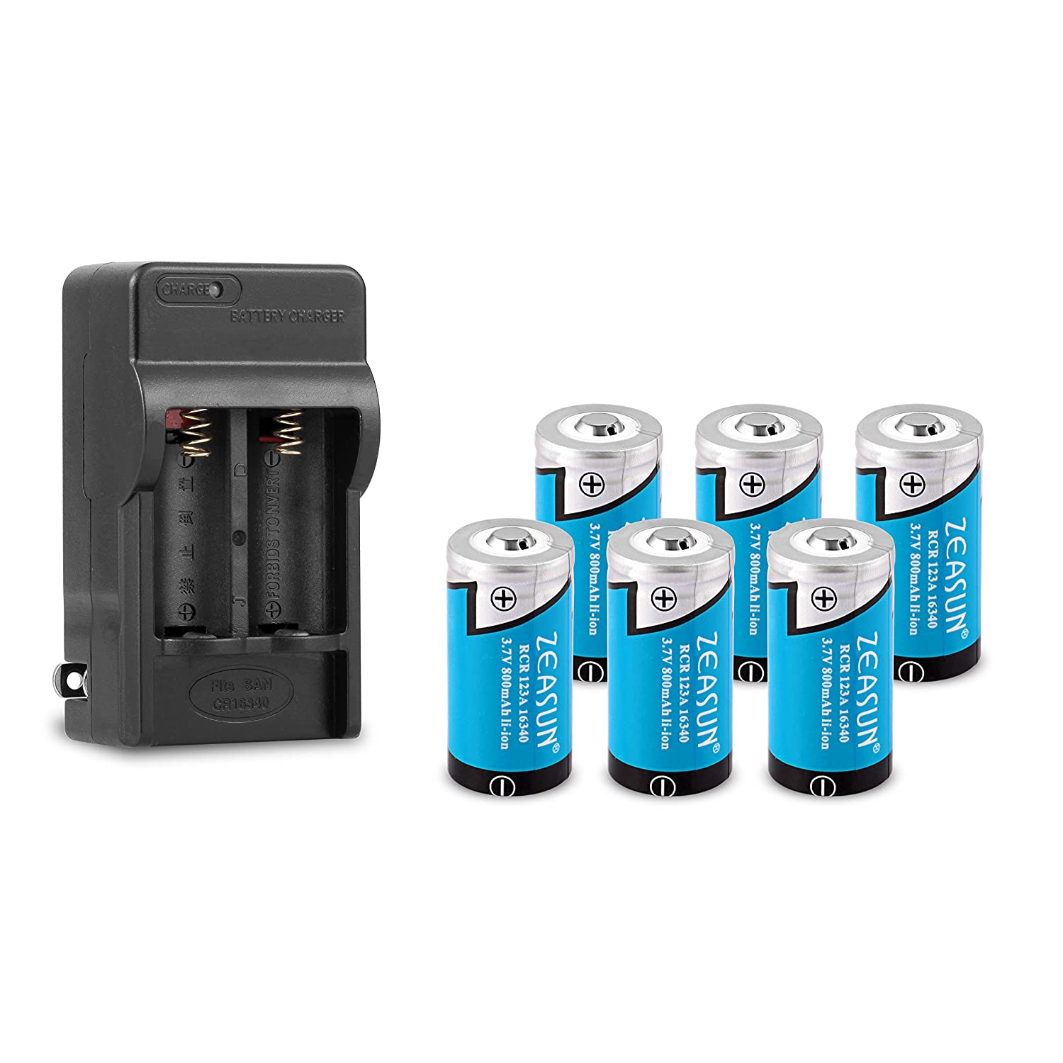 16340/CR123A Battery Charger with 6-Pack Zeasun 16340 800 mAh 3.7V Rechargeable Lithium Battery AMOUR-007