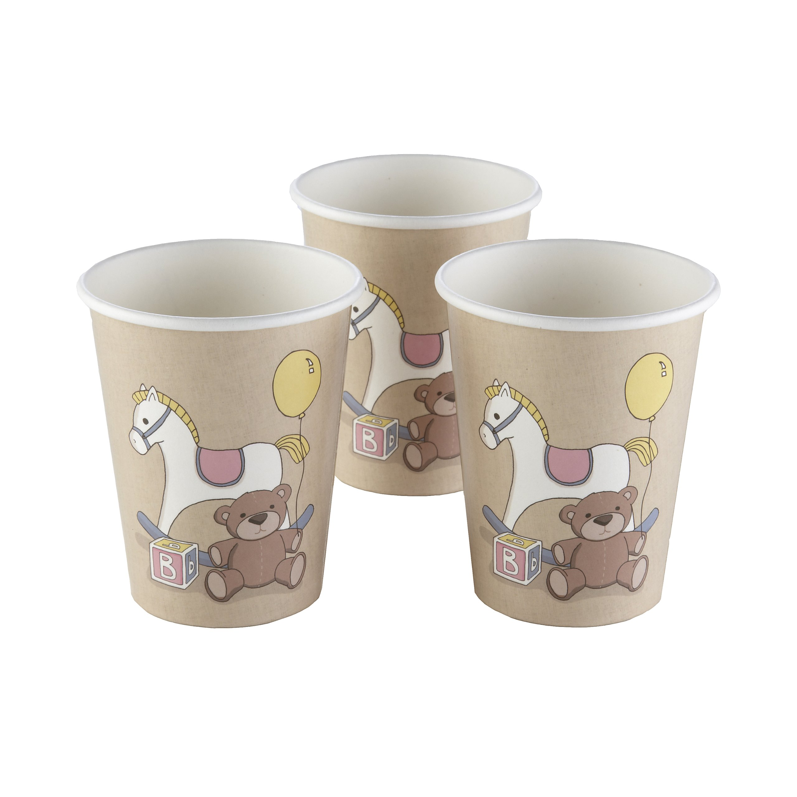 Ginger Ray Rocking Horse & Teddy Vintage Paper Cups (8 Pack), Mixed (RB-4014)