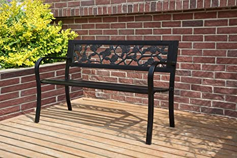 Wondrous Westwood 3 Seater Garden Bench Slat Steel Rose Style Park Patio Outdoor Furniture Seat Chair Metal C074 Black Ncnpc Chair Design For Home Ncnpcorg