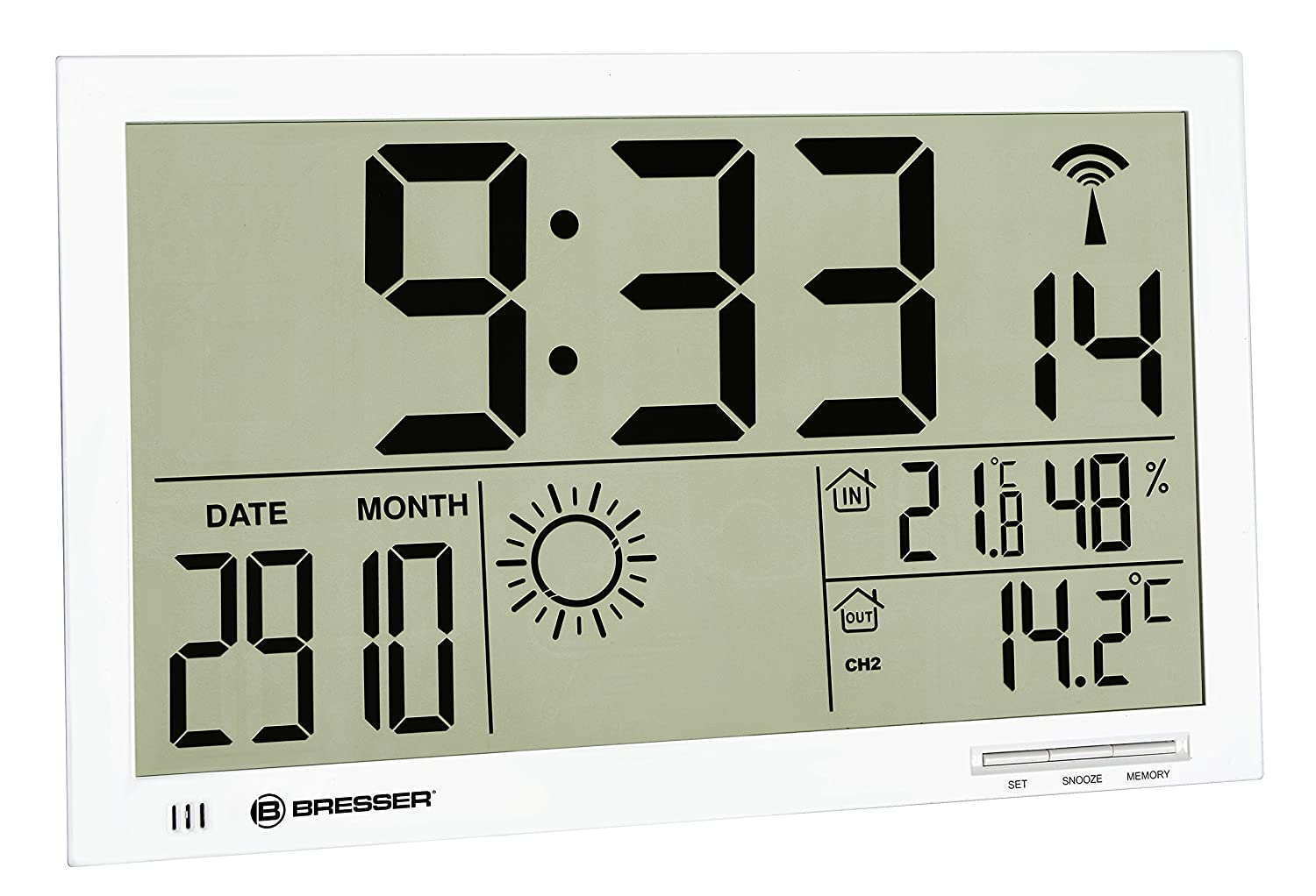 Bresser Weather Station Wall Clock MyTime Jumbo LCD with outdoor sensor, white 7001800GYE000