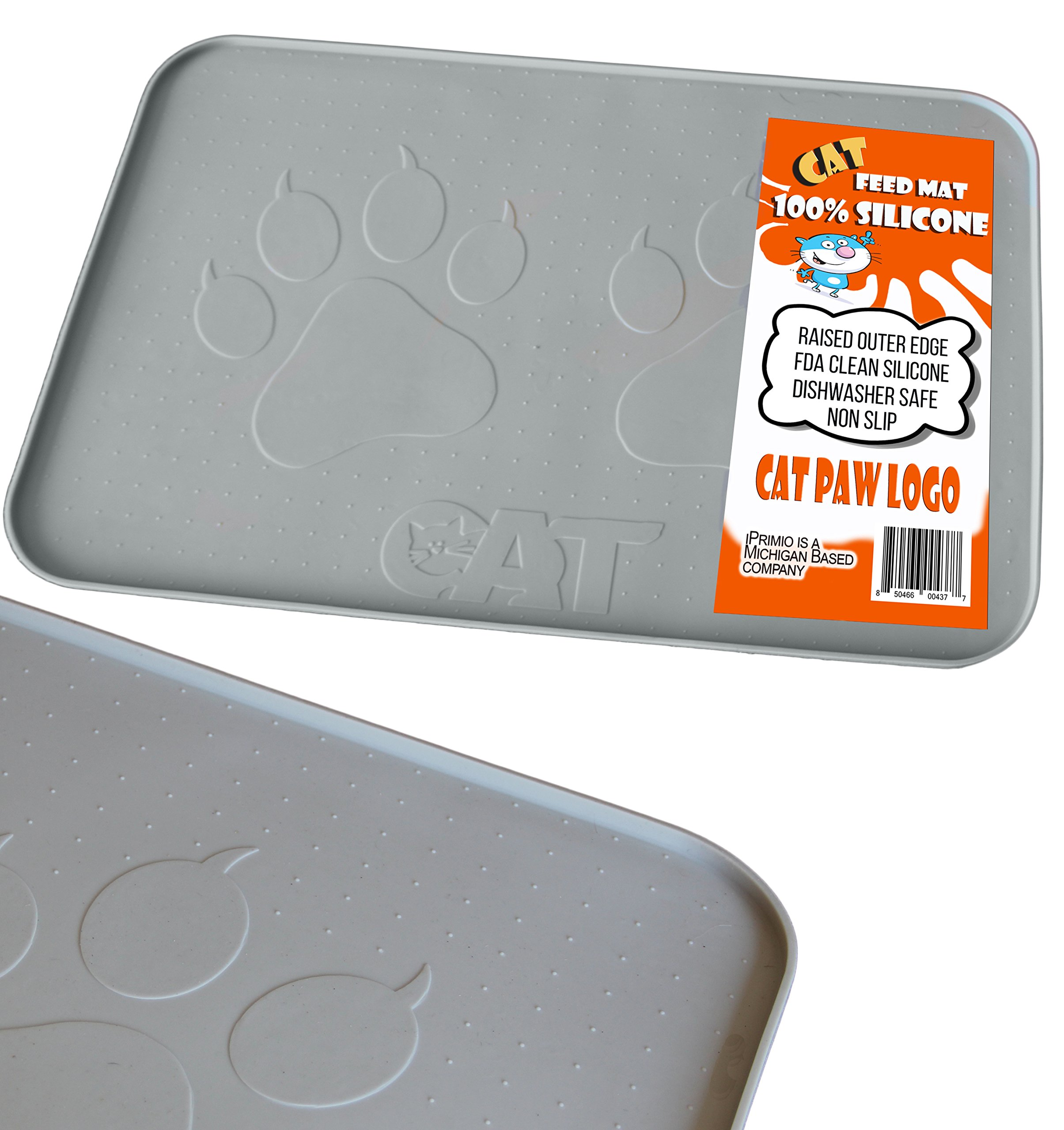 iPrimio Large Cat Feeding Mat with Paw Logo. Premium FDA Silicone (Gray - 22'' X 14'') Perfect Size. Hygienic and Safe for Allergic Cats. Dishwasher Safe. Aniti Spill Edge. No Slip.