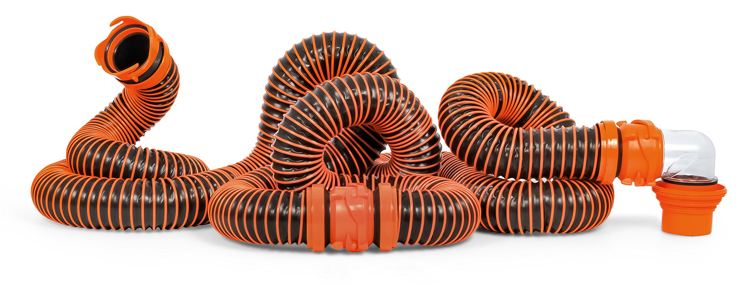 Camco RhinoEXTREME 20ft RV Sewer Hose Kit, Includes Swivel Fitting and Translucent Elbow with 4-In-1 Dump Station Fitting, Crush Resistant, Storage Caps Included