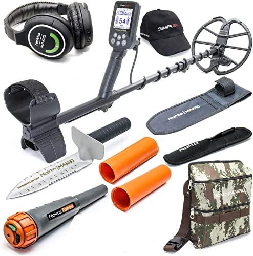 Nokta Simplex Submersible Metal Detector with Wireless Headphones, Waterproof Pinpointer, Premium Digger, and Camo Finds Pouch