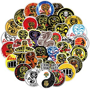 50 PCS Cobra Kai TV Show Karate Kids Kungfu Miyagido Strike First Stickers Set For Kids, Teen, Adults Decorating for Car, Wall, Water Bottle, Laptop, Phone Case, Skateboard, Cool Graffiti Decal