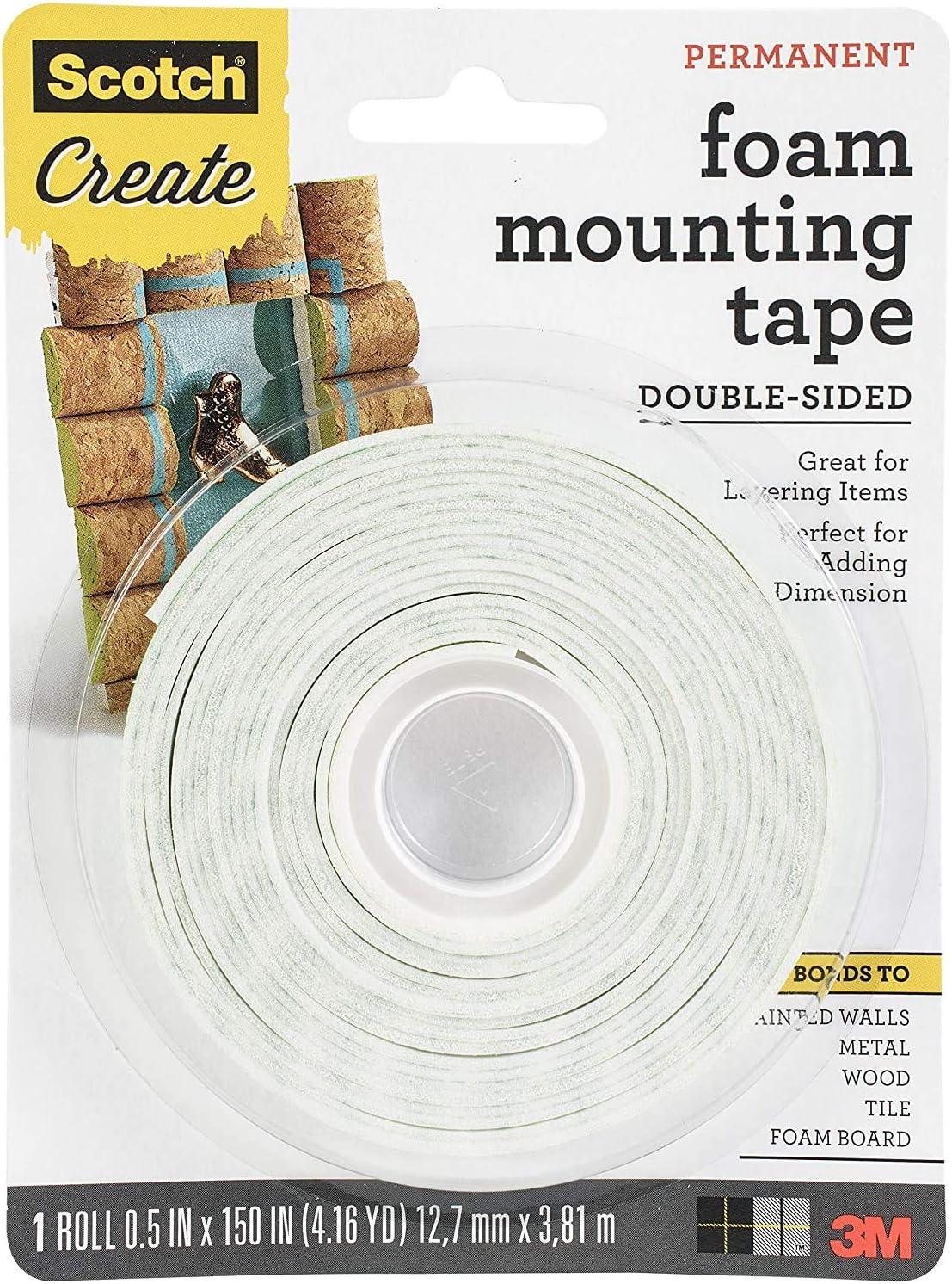 White 0.5 x 150 Scotch Foam Mounting Tape 1//2-in x 150-in 1-Roll- .2-Rolls