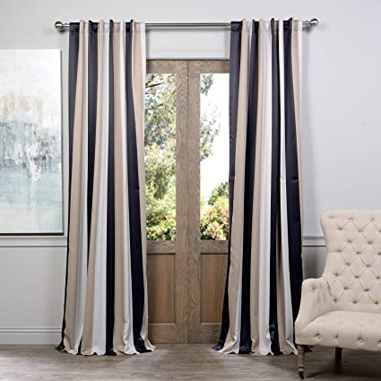 DH 2 Piece 84 Inch Tan Off White Rugby Stripes Curtains Pair Panel Set Black