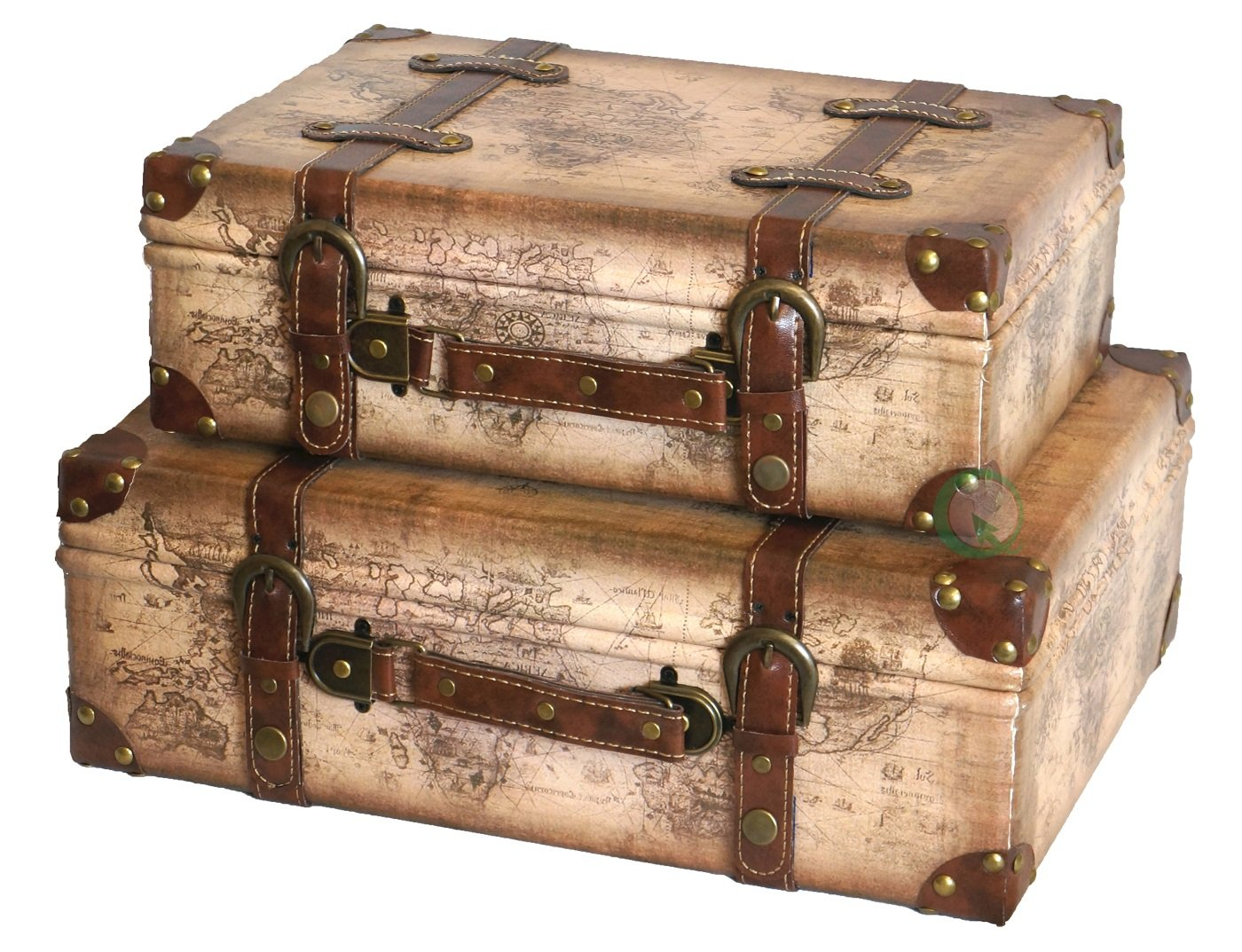 Vintiquewise(TM) Old World Map Leather Vintage Style Suitcase with Straps, Set of 2 by Vintiquewise