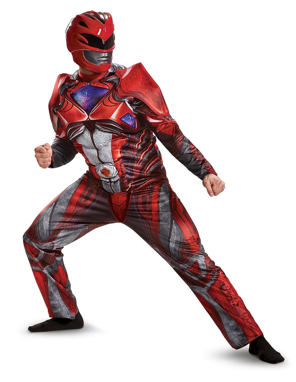 Power Rangers Movie Red Ranger Deluxe Mens Fancy dress costume Medium