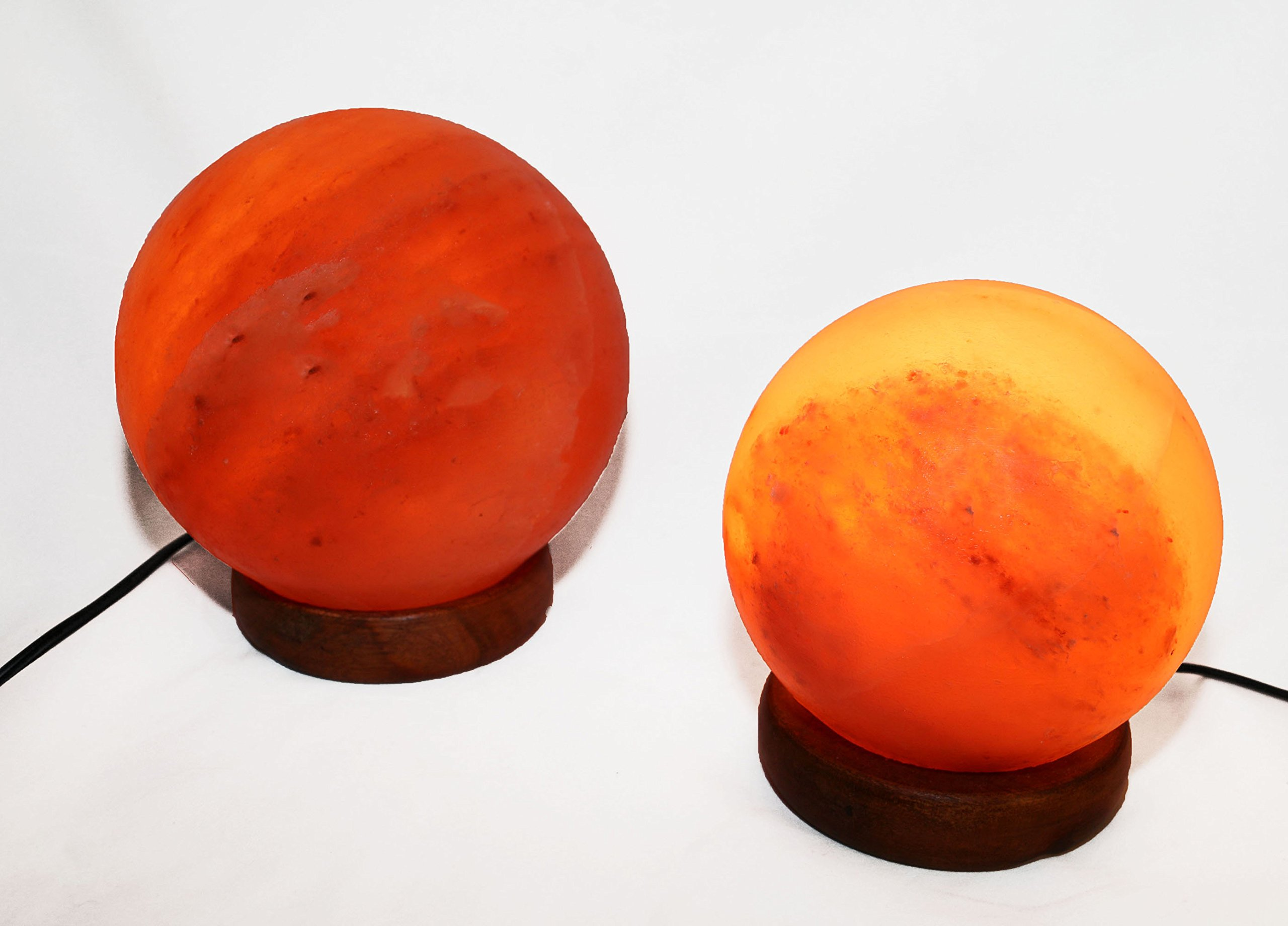 HomeRoots Lighting 5'' and 7'' Sphere Shaped Himalayan Salt Lamp 1.5 and 1.7 with dimmer. Set of 2.