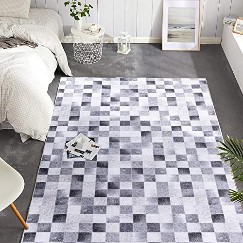 jinchan Area Rug Heathered Grey Modern Patchwork Print Faux Animal Low Pile Floorcover Geometric Square Indoor Mat