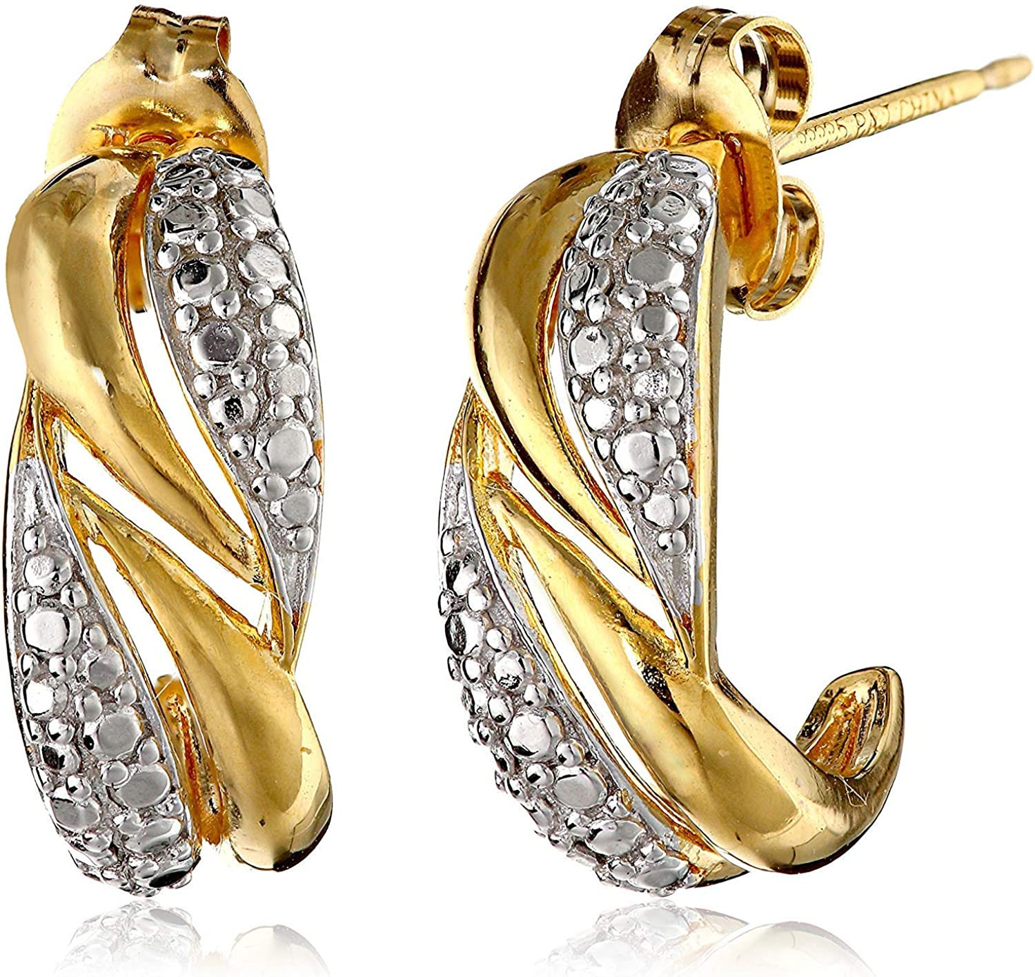 Genuine Yellow Diamond Love Knot Two Tone Earrings 14k Yellow Gold over 925 SS