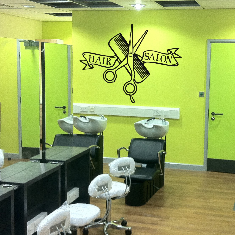 ik858 Wall Decal Sticker hair salon girl hairstyle barber scissors styling comb by StickersForLife B00ULPPO8W