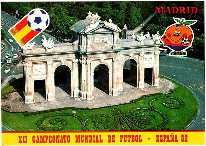 ANTIGUA TARJETA POSTAL Nº 15 POST CARD MASCOTA NARANJITO XII CAMPEONATO MUNDIAL DE FÚTBOL ESPAÑA 82 1982 MADRID PUERTA DE ALCALÁ. FOOTBALL SOCCER WORLD CUP. CARTE POSTALE: Amazon.es: Oficina y papelería