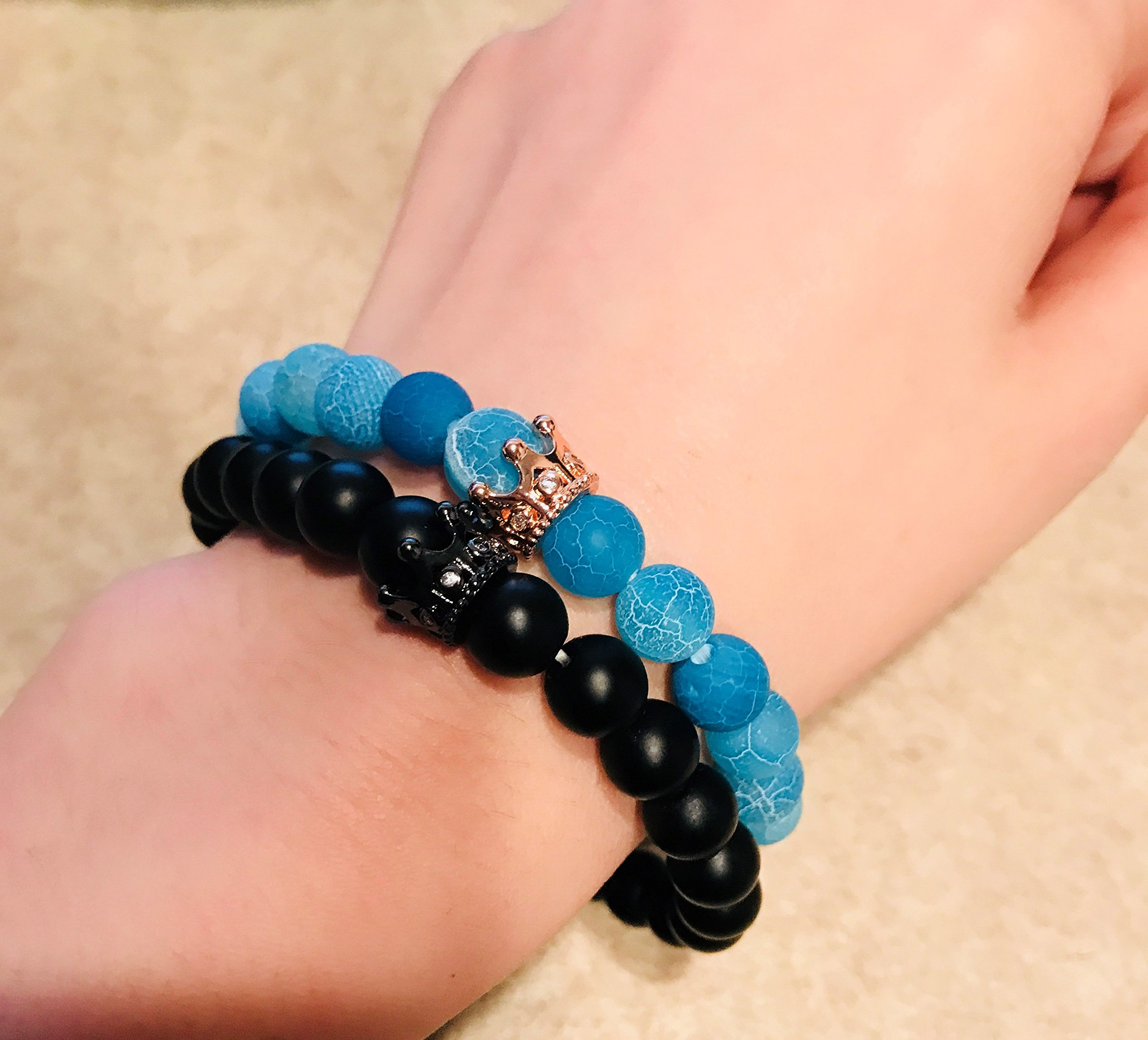 ISAACSONG.DESIGN Unisex Prayer Healing Round Natural Lava Turquoise Stone 8mm Beads Stretch Bracelet with Charms (Black Matte Agate & Blue Agate) by ISAACSONG.DESIGN (Image #4)