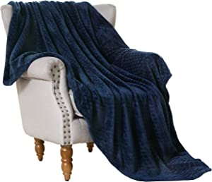 """Exclusivo Mezcla Brushed Diamond Pattern Large Flannel Fleece Throw Blankets (Navy Blue, 50"""" x 70"""")-Soft, Warm and Lightweight"""
