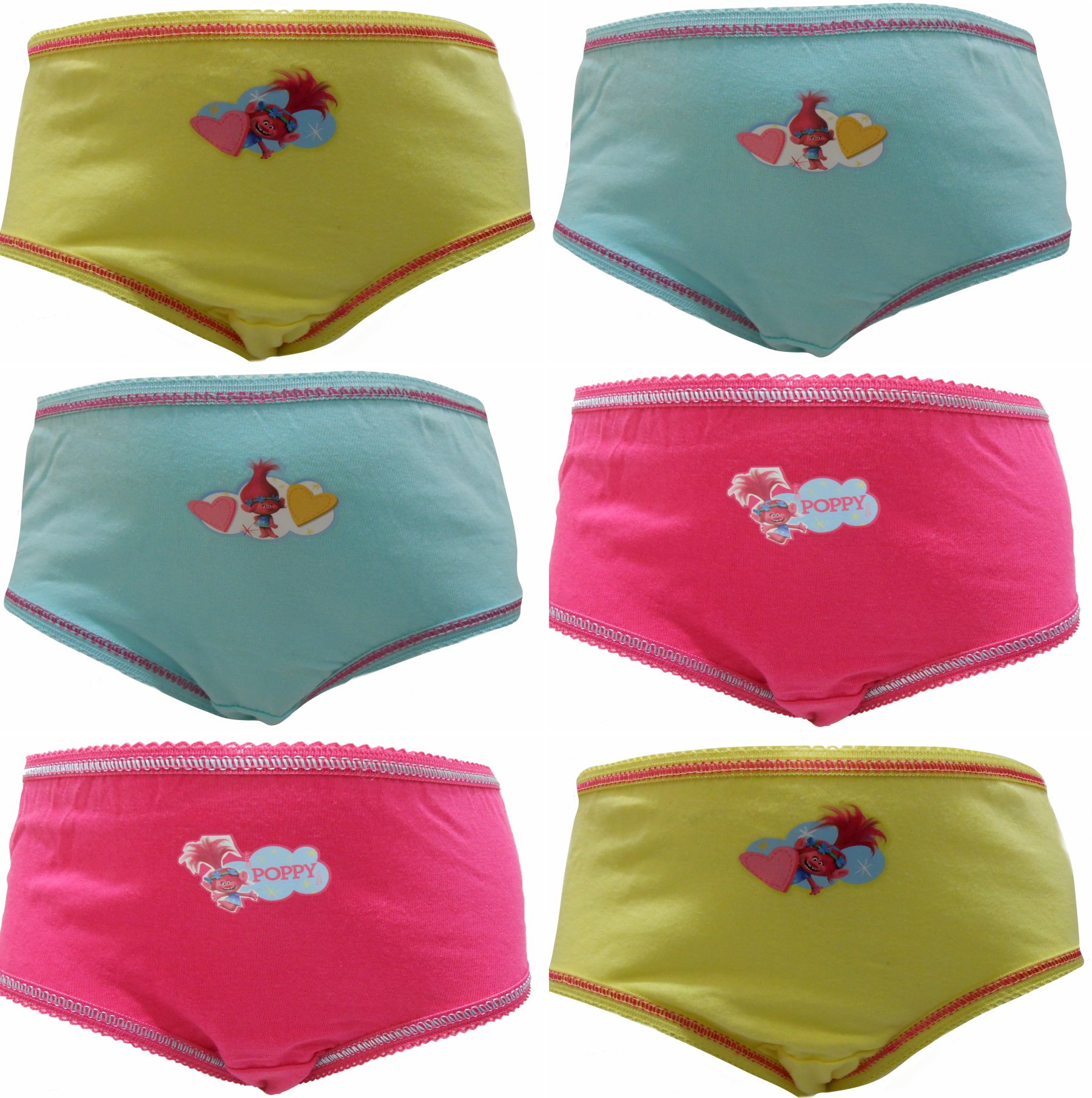 TDP Textiles Trolls Love Poppy Girls 6 Pack Knickers Briefs 2-3 Years