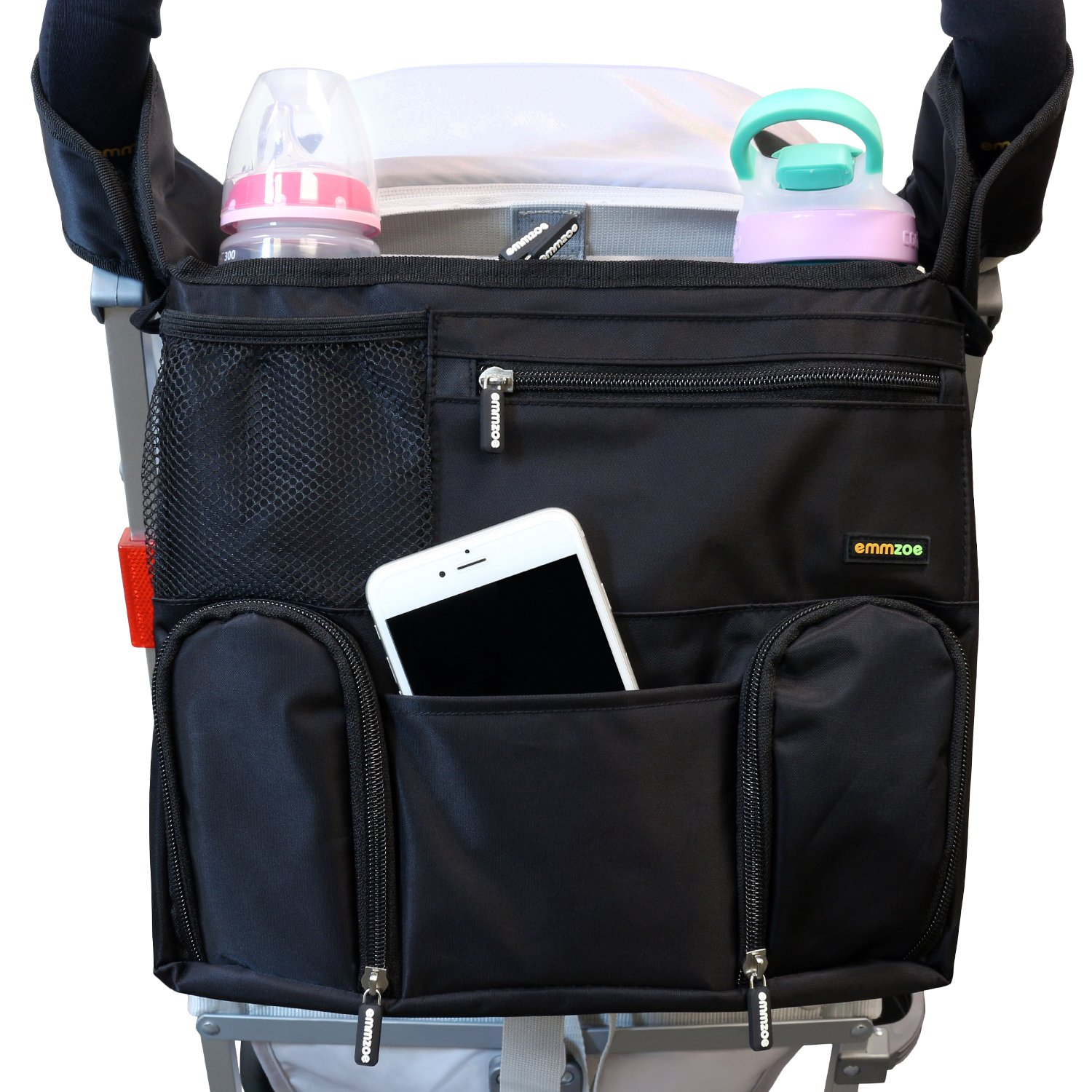 Books Wipes Tablets Food Emmzoe Universal Fit Stroller Organizer All-in-One Insulated Multifunctional Storage Compartments for Drinks Diapers