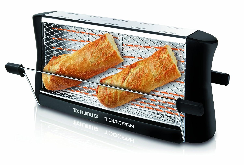 Taurus TodoPan - Tostadora para cualquier tipo de pan, tuesta en ambos lados, práctico sistema de fijación, varillas de soporte del pan con goma en el ...
